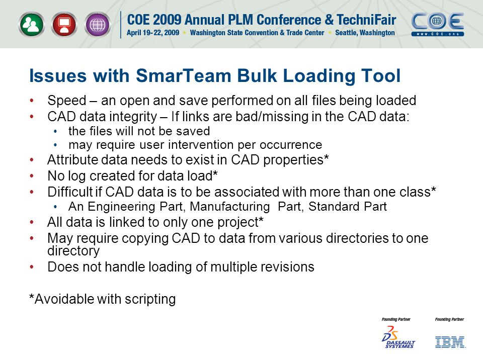 Issues with SmarTeam Bulk Loading Tool