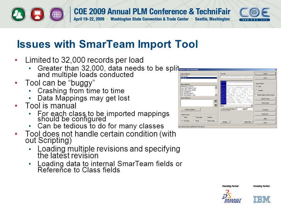 Issues with SmarTeam Import Tool