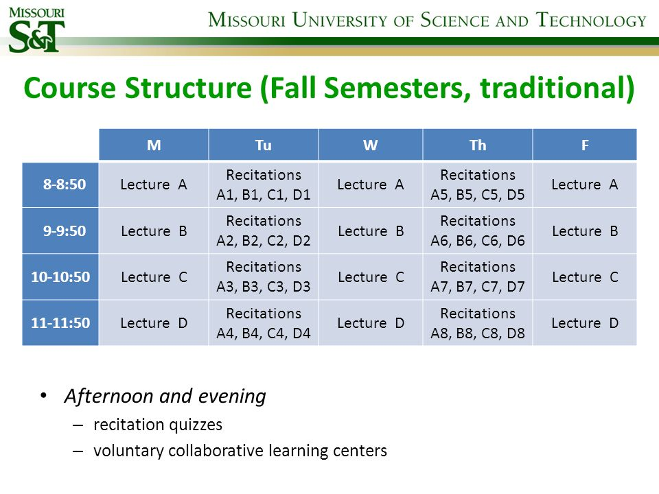 Course Structure (Fall Semesters, traditional)