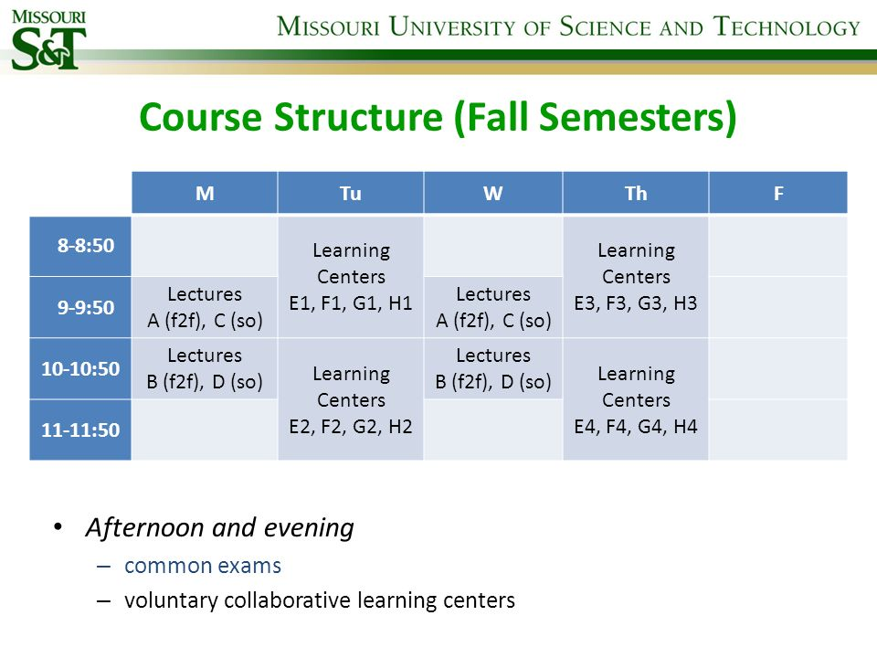 Course Structure (Fall Semesters)