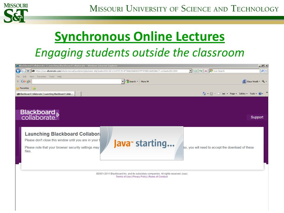 Synchronous Online Lectures Engaging students outside the classroom