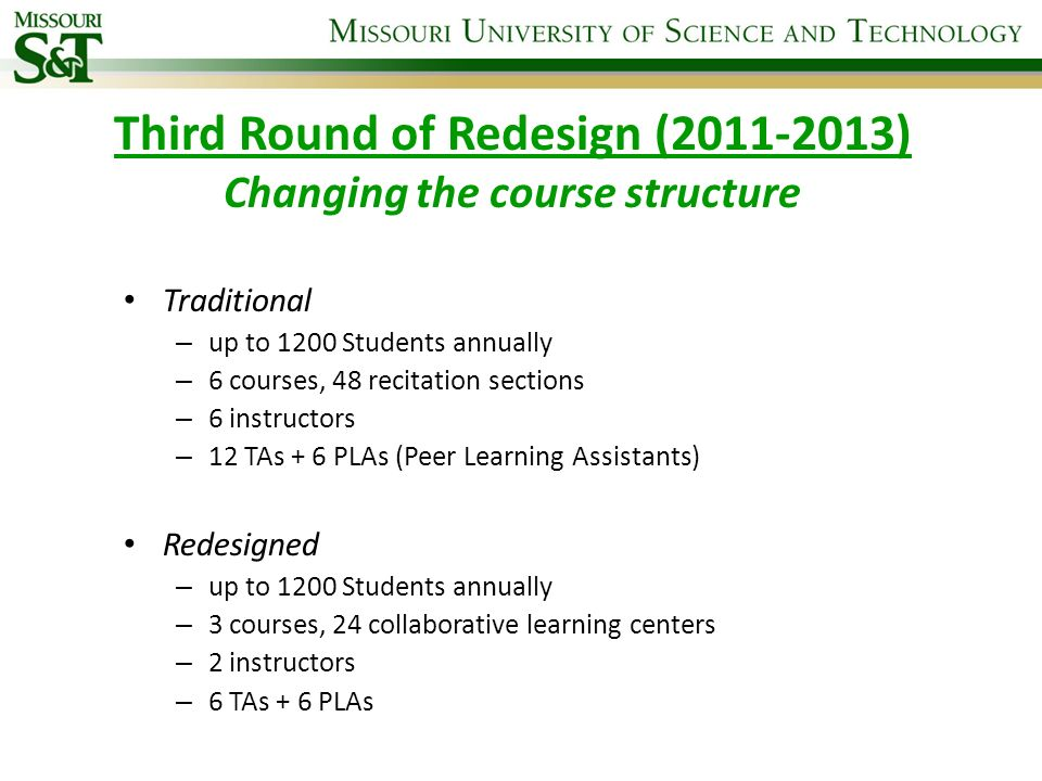 Third Round of Redesign (2011-2013) Changing the course structure
