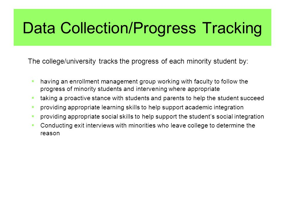 Data Collection/Progress Tracking