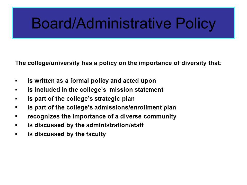 Board/Administrative Policy