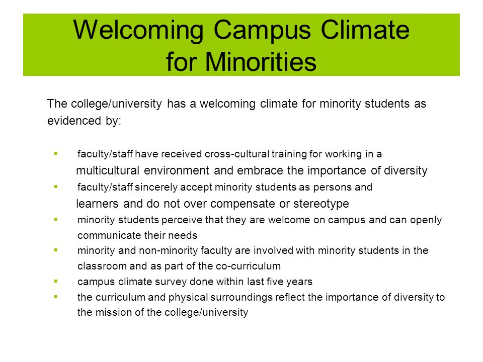Welcoming Campus Climate for Minorities