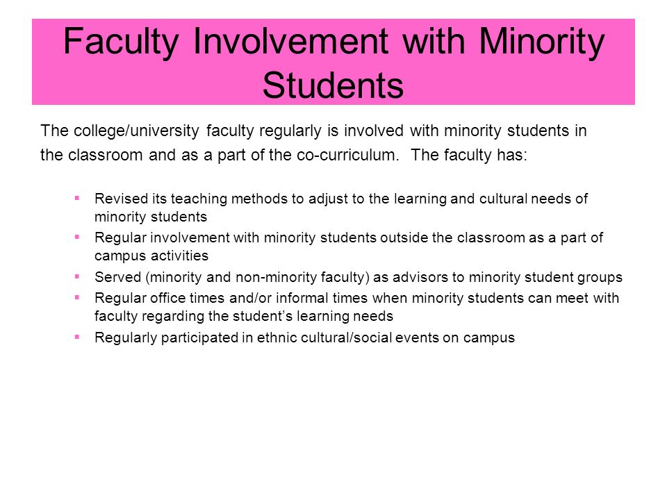 Faculty Involvement with Minority Students