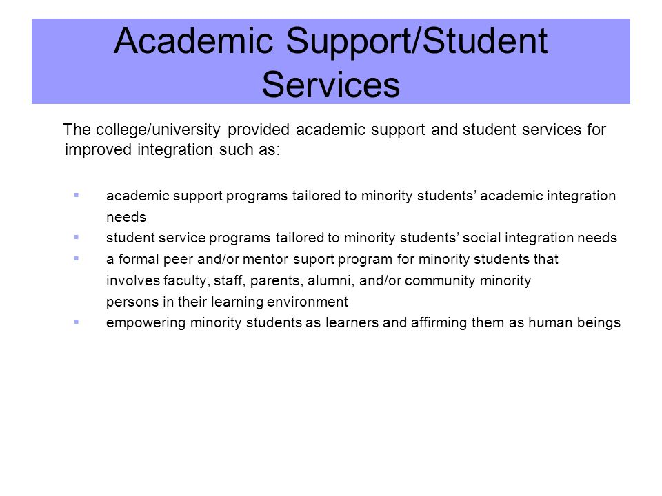 Academic Support/Student Services