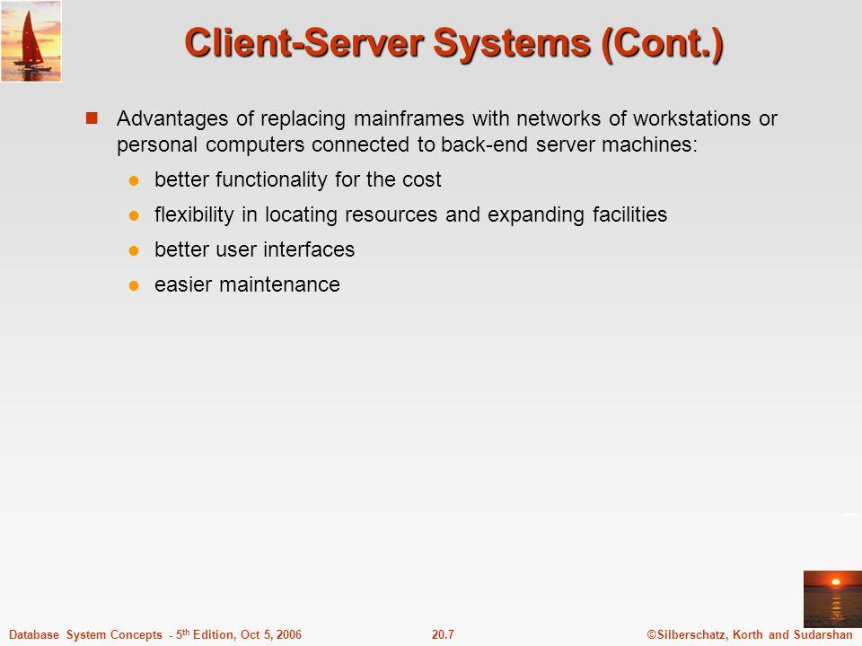 Client-Server Systems (Cont.)