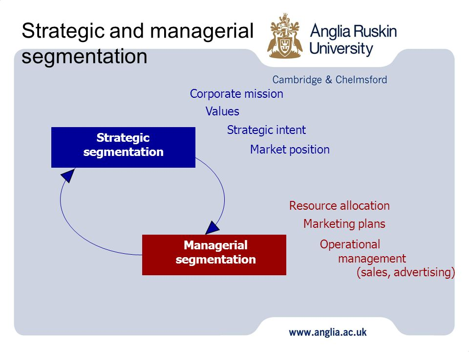 Strategic and managerial segmentation