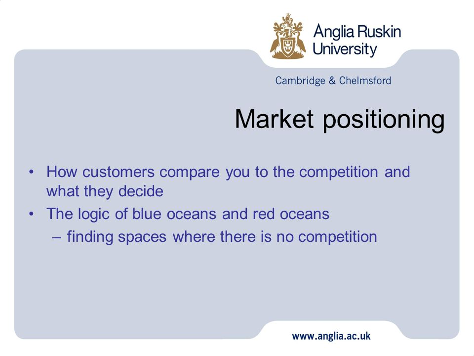 Market positioning How customers compare you to the competition and what they decide. The logic of blue oceans and red oceans.