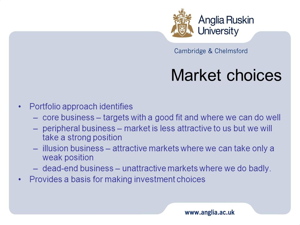 Market choices Portfolio approach identifies