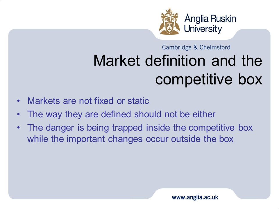 Market definition and the competitive box