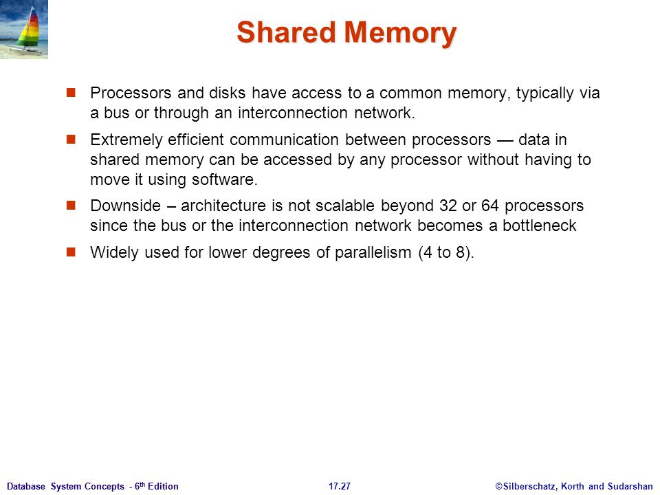 Shared Memory Processors and disks have access to a common memory, typically via a bus or through an interconnection network.