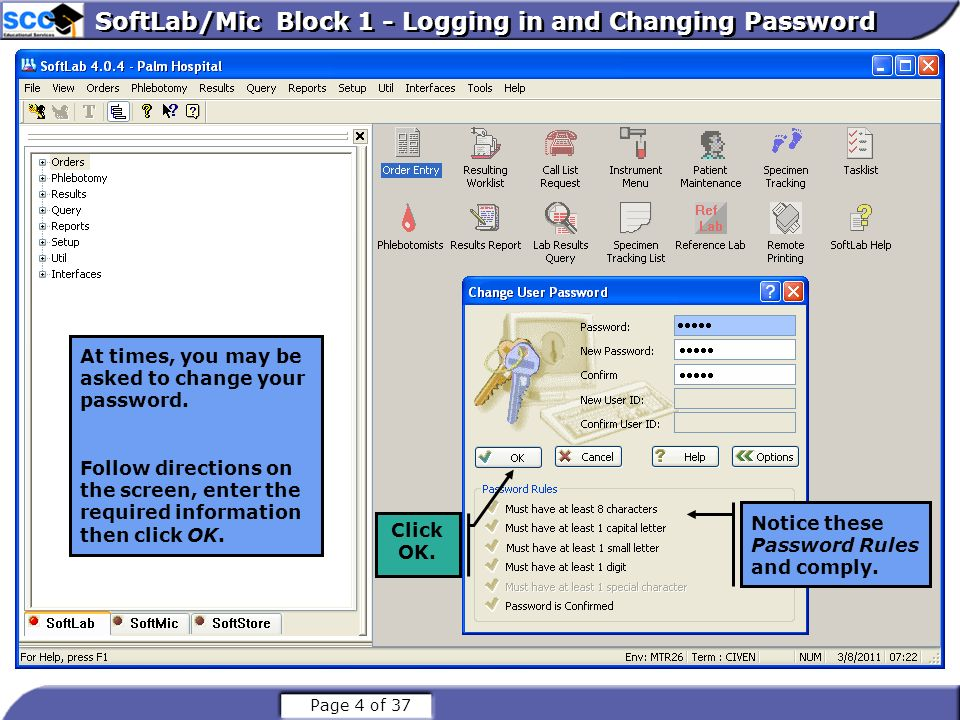 SoftLab/Mic Block 1 - Logging in and Changing Password