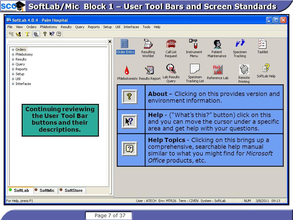 SoftLab/Mic Block 1 – User Tool Bars and Screen Standards