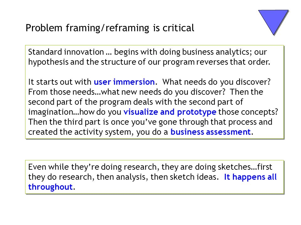Problem framing/reframing is critical