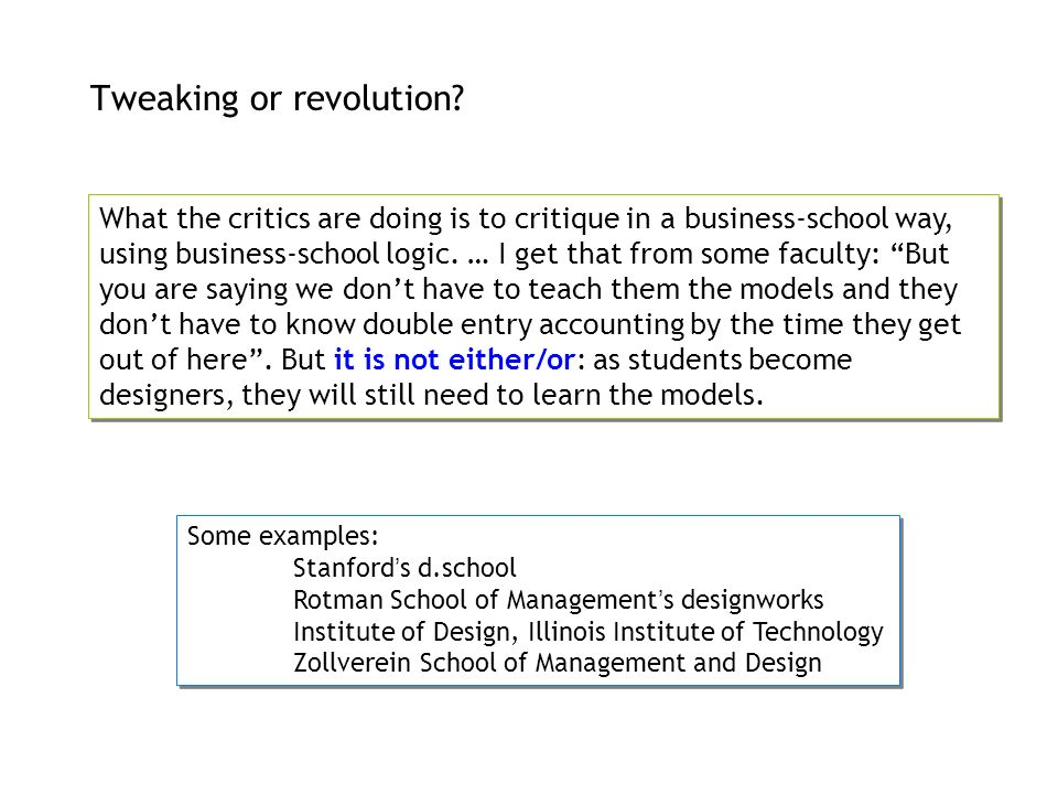 Tweaking or revolution