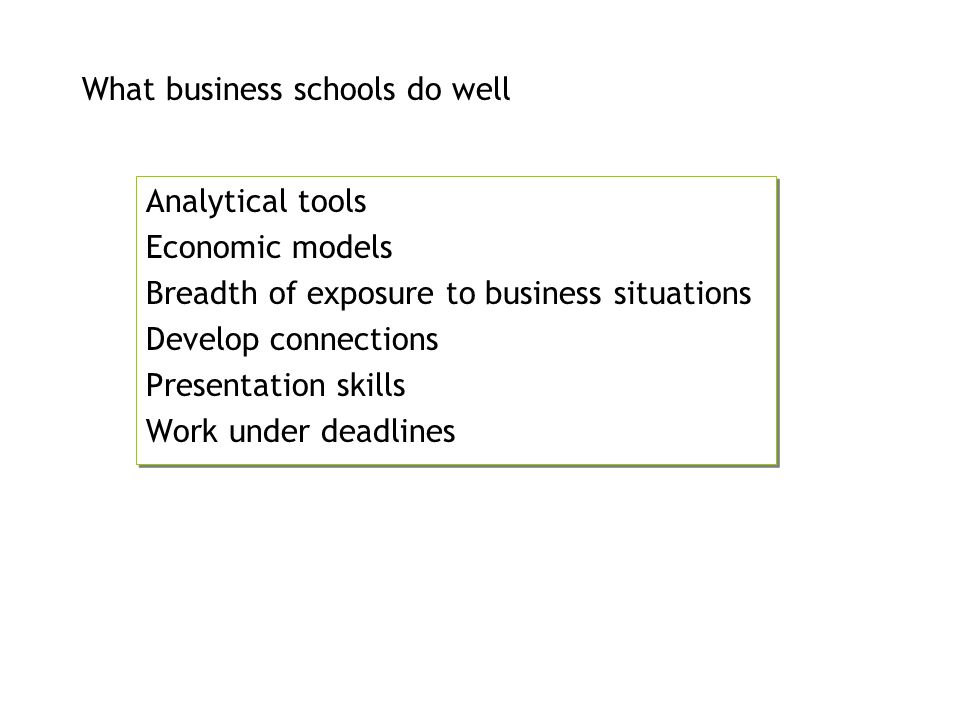 What business schools do well