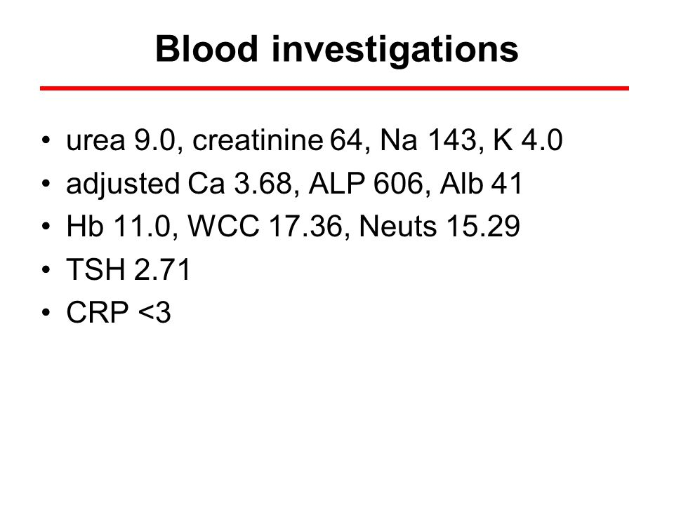 Blood investigations urea 9.0, creatinine 64, Na 143, K 4.0