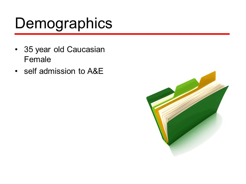 Demographics 35 year old Caucasian Female self admission to A&E