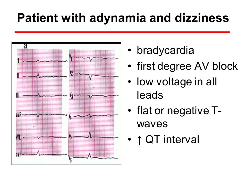 Patient with adynamia and dizziness