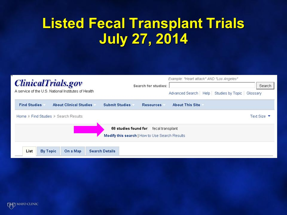 Listed Fecal Transplant Trials July 27, 2014