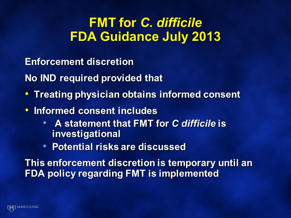FMT for C. difficile FDA Guidance July 2013