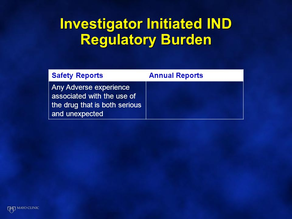 Investigator Initiated IND Regulatory Burden