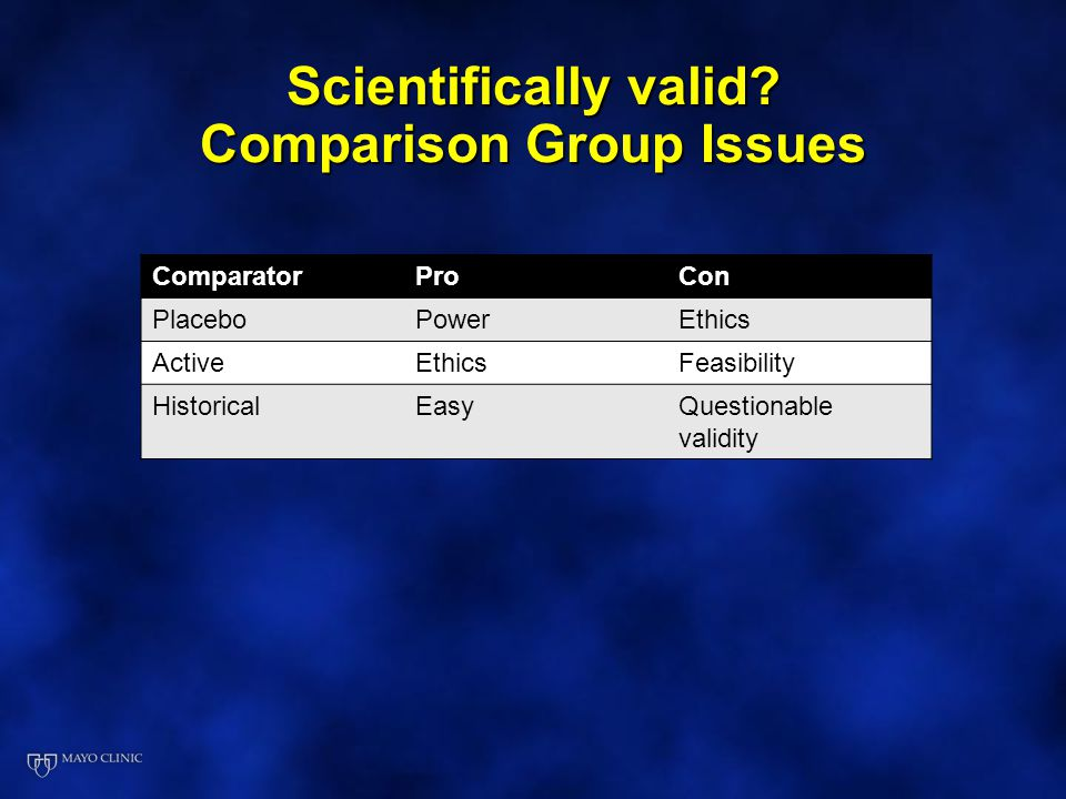 Scientifically valid Comparison Group Issues