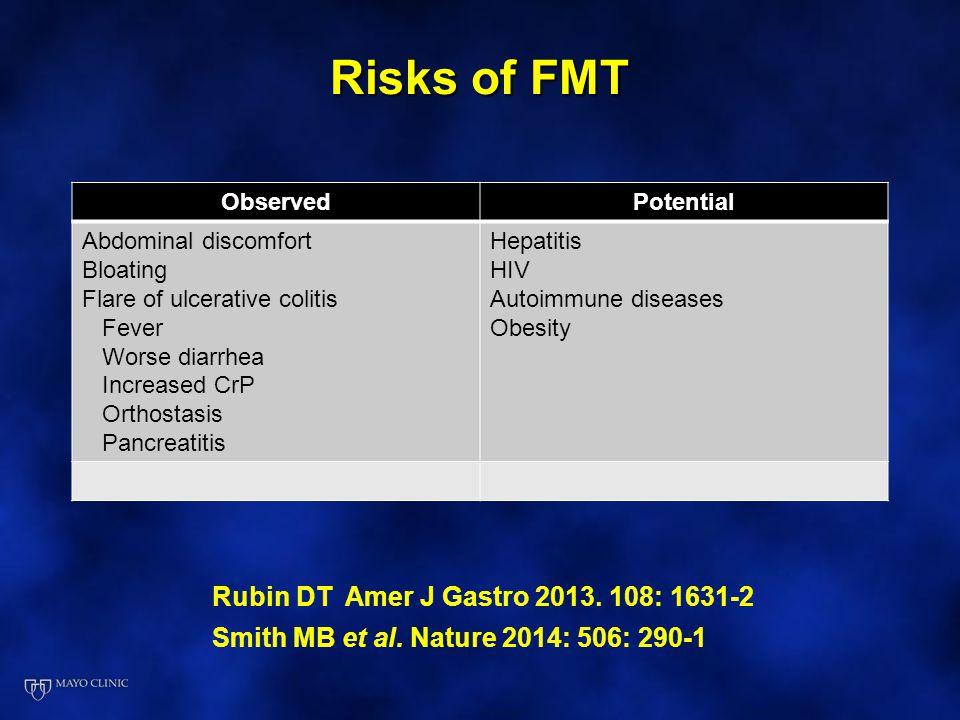 Risks of FMT Rubin DT Amer J Gastro 2013. 108: 1631-2