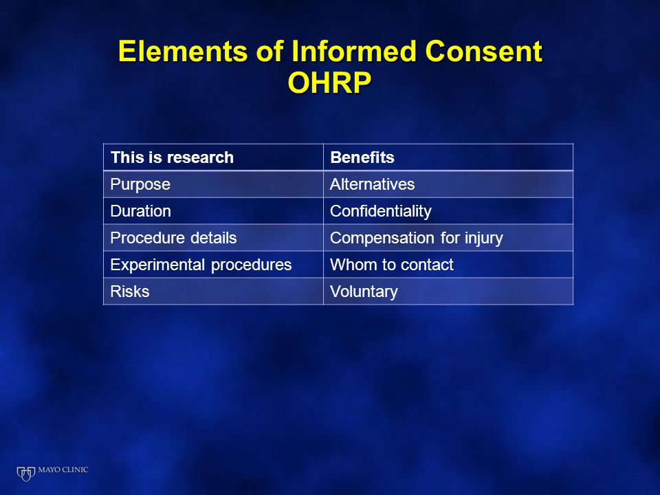 Elements of Informed Consent OHRP