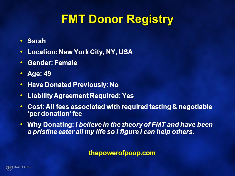 FMT Donor Registry Sarah Location: New York City, NY, USA