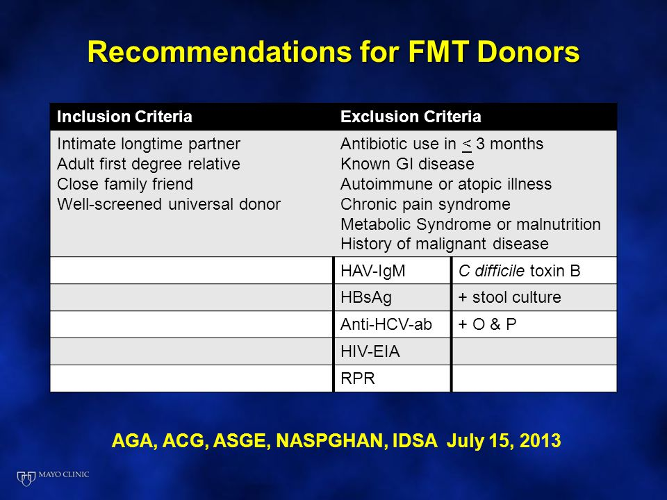 Recommendations for FMT Donors