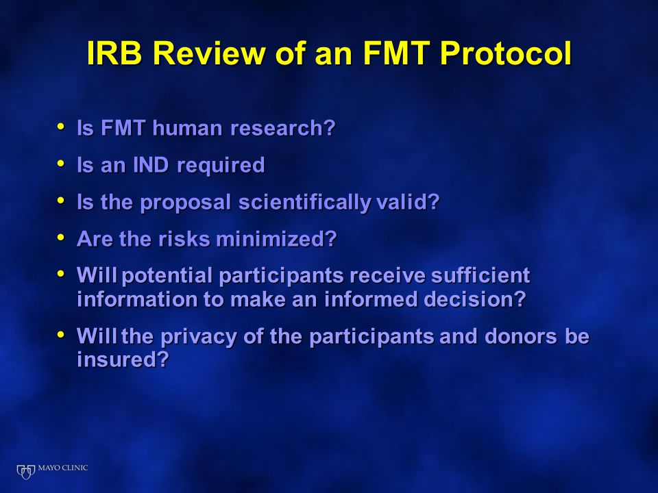 IRB Review of an FMT Protocol