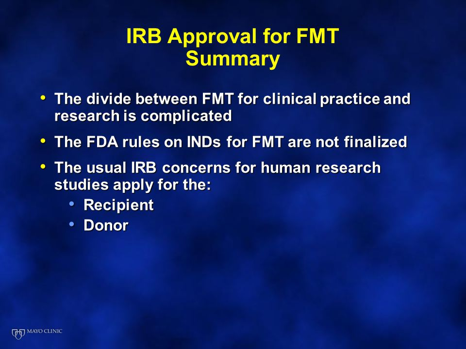 IRB Approval for FMT Summary