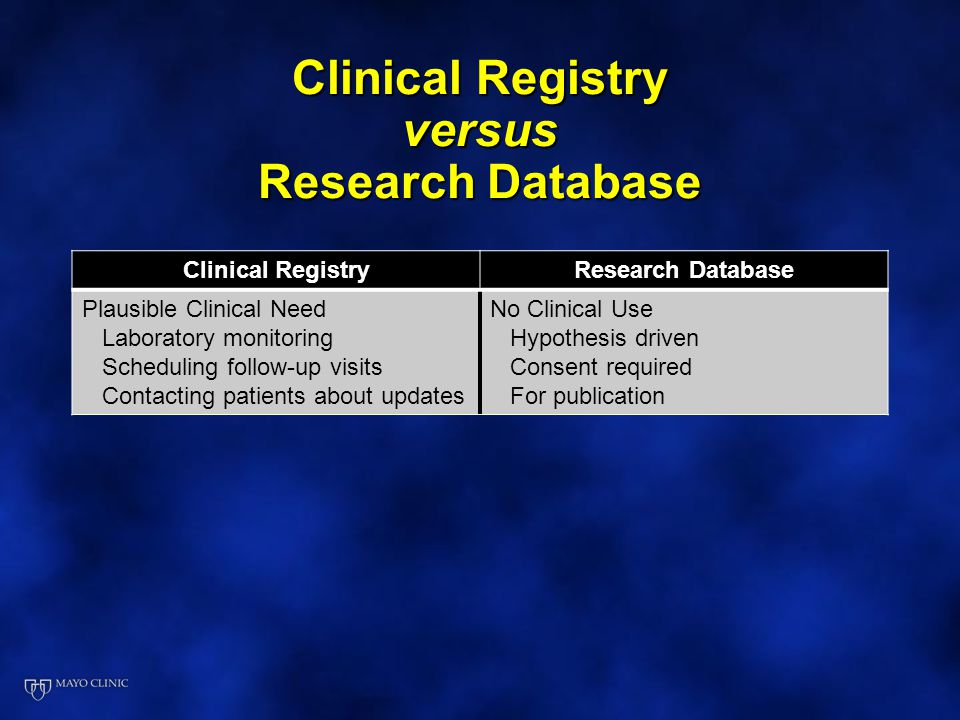 Clinical Registry versus Research Database