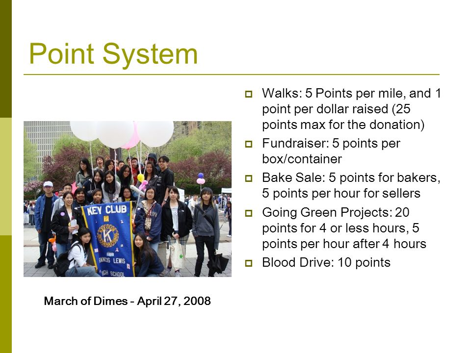 Point System Walks: 5 Points per mile, and 1 point per dollar raised (25 points max for the donation)