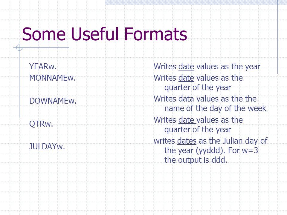 Some Useful Formats YEARw. MONNAMEw. DOWNAMEw. QTRw. JULDAYw.