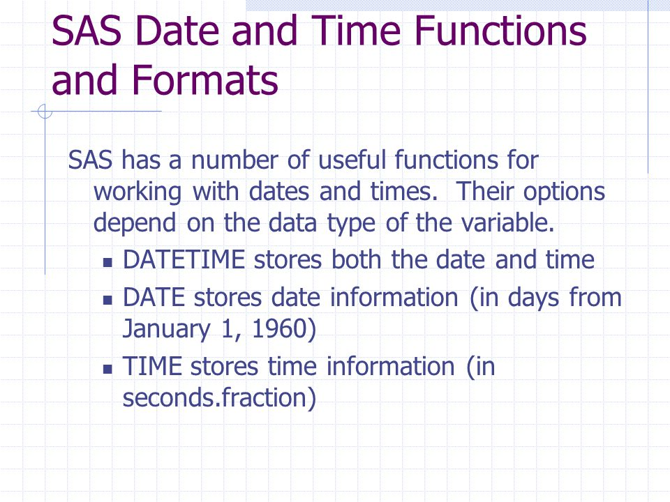 SAS Date and Time Functions and Formats