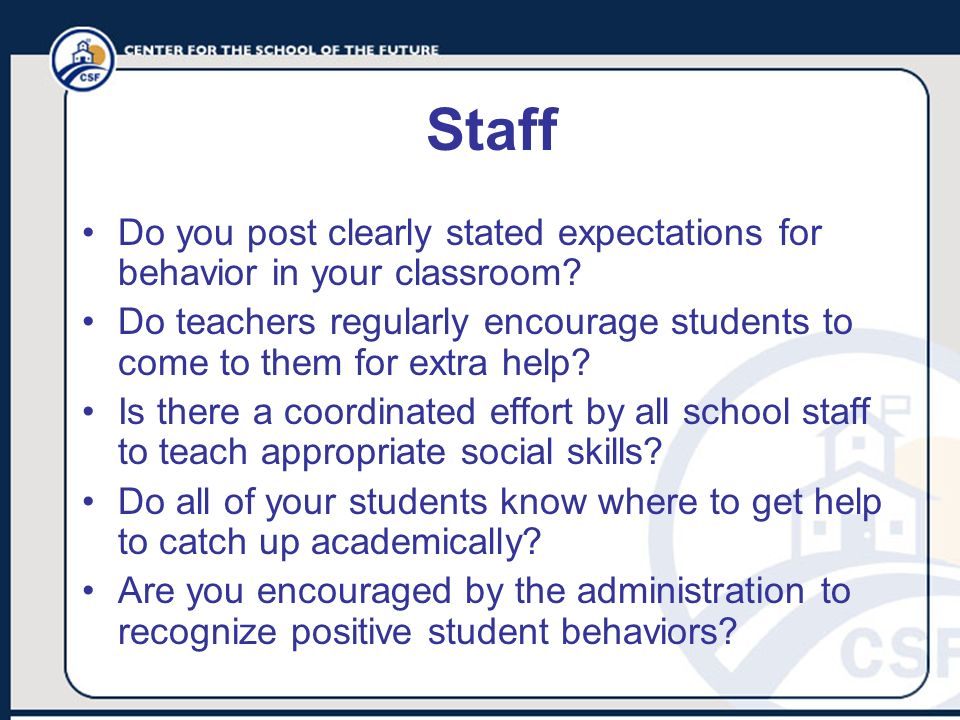 Staff Do you post clearly stated expectations for behavior in your classroom