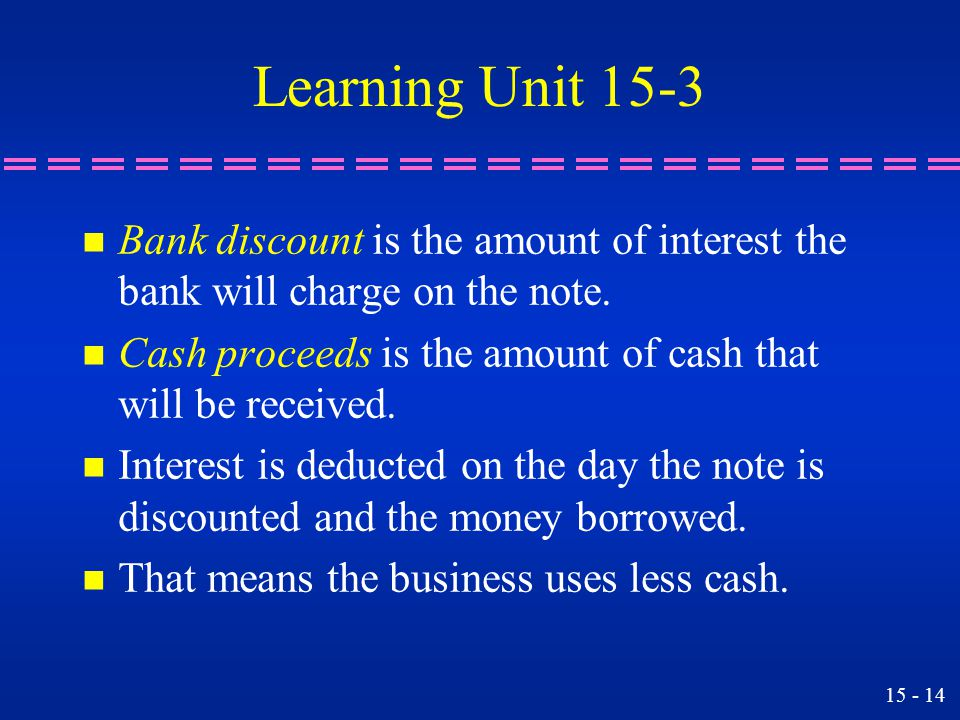 Learning Unit 15-3 Bank discount is the amount of interest the bank will charge on the note.