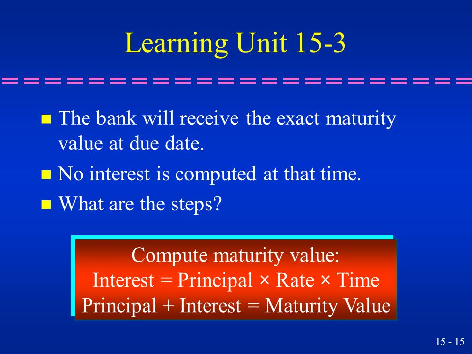Learning Unit 15-3 The bank will receive the exact maturity value at due date. No interest is computed at that time.