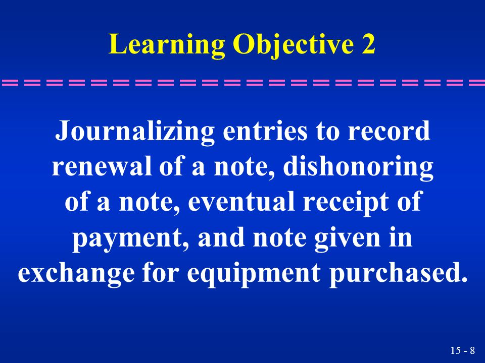 Journalizing entries to record renewal of a note, dishonoring