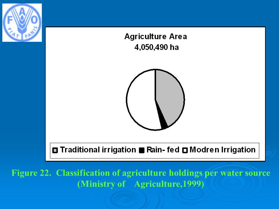 Figure 22. Classification of agriculture holdings per water source (Ministry of Agriculture,1999)