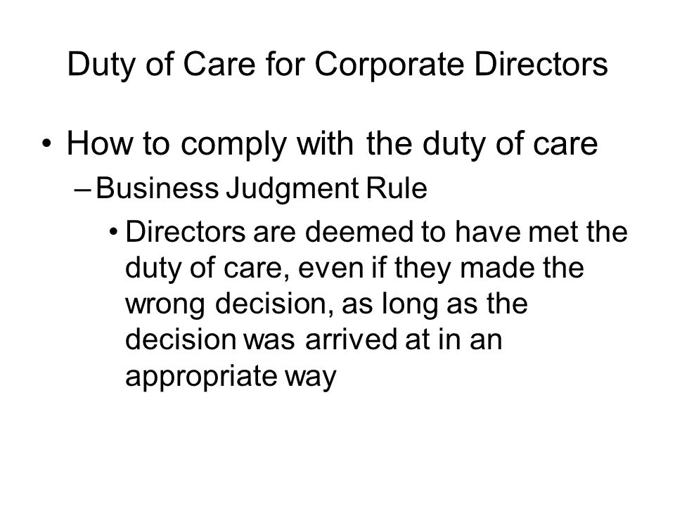 Duty of Care for Corporate Directors