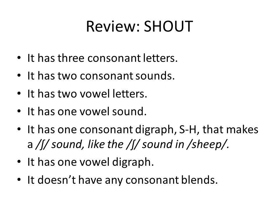 Review: SHOUT It has three consonant letters.