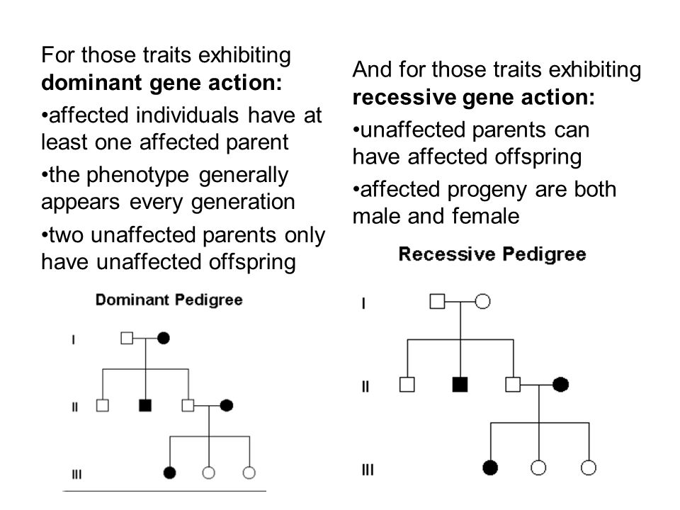 For those traits exhibiting dominant gene action: