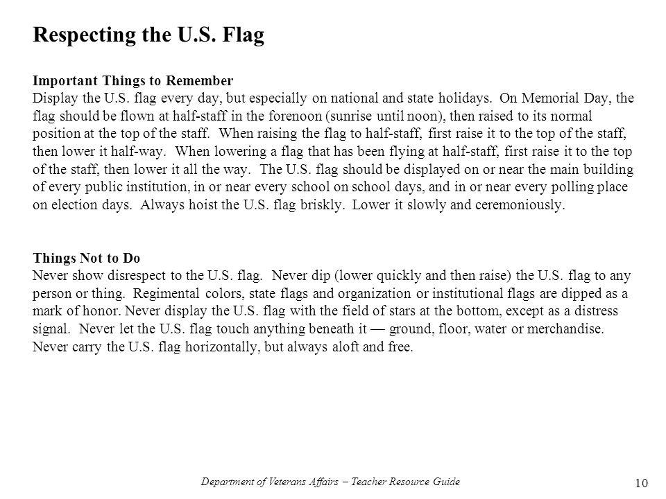 Department of Veterans Affairs – Teacher Resource Guide