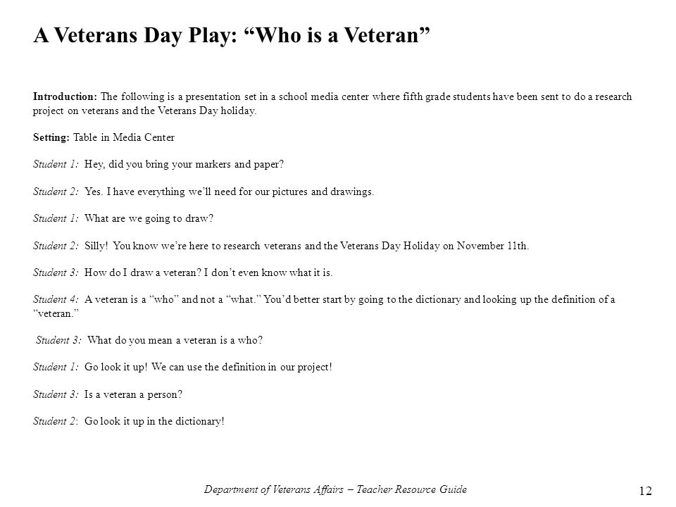 Department of Veterans Affairs – Teacher Resource Guide