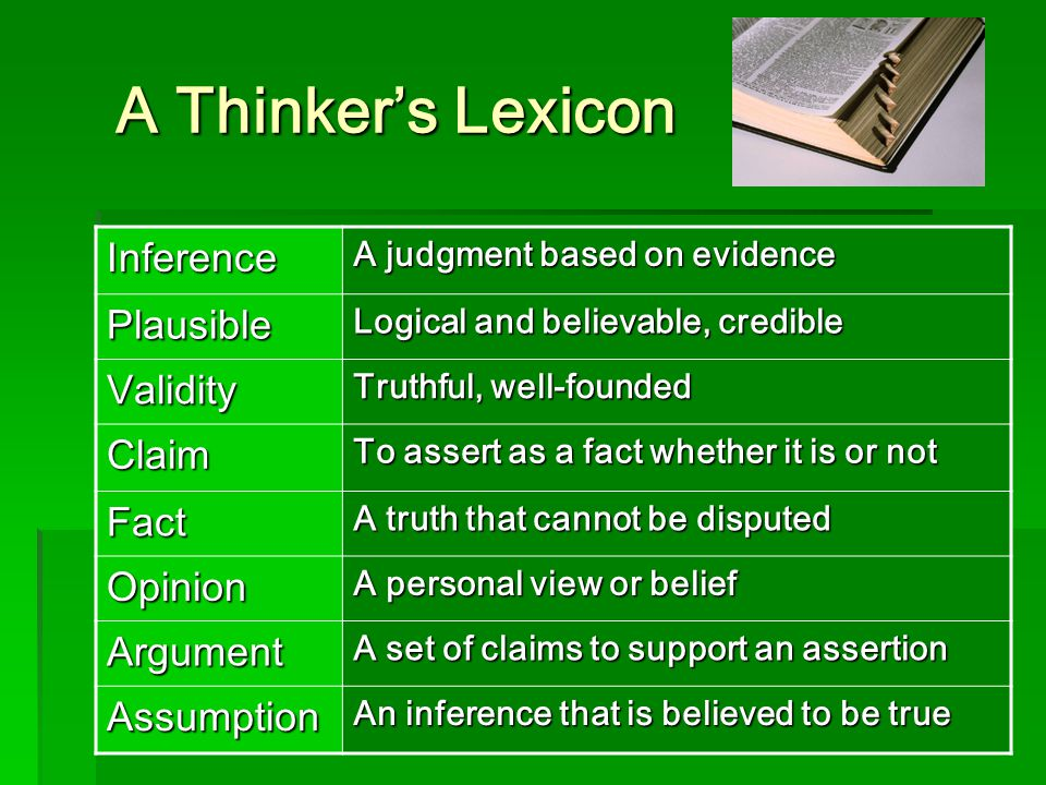 A Thinker's Lexicon Inference Plausible Validity Claim Fact Opinion